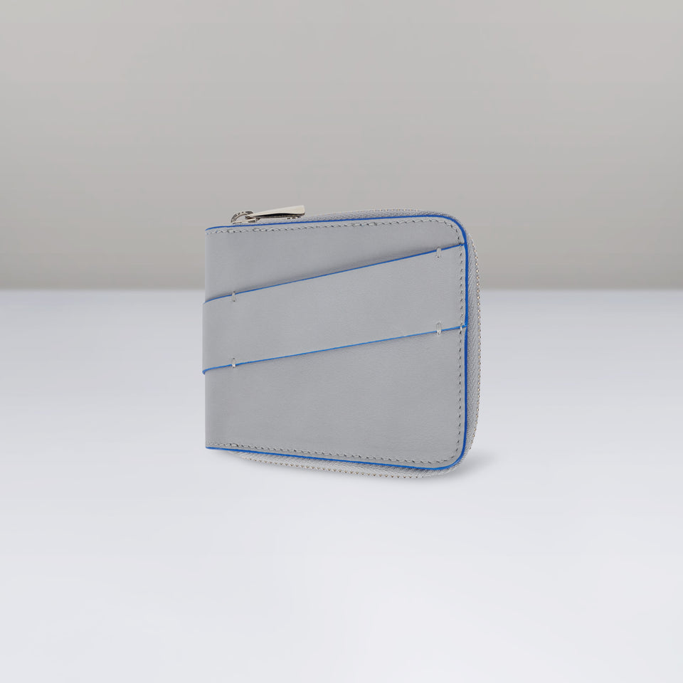 GREY AND BLUE ZIP WALLET