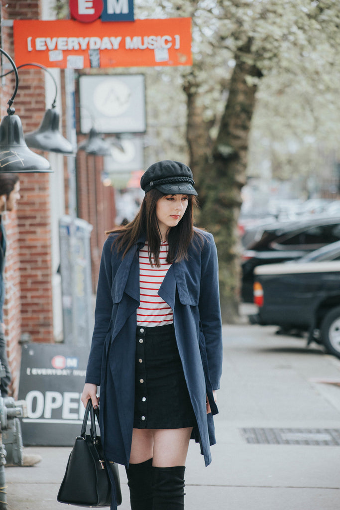 Lindsey wearing a French-inspired vegan clothing look, street style photo in Seattle