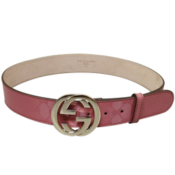 Gucci Women's Pink GG Canvas Interlocking G Buckle Imprime Belt