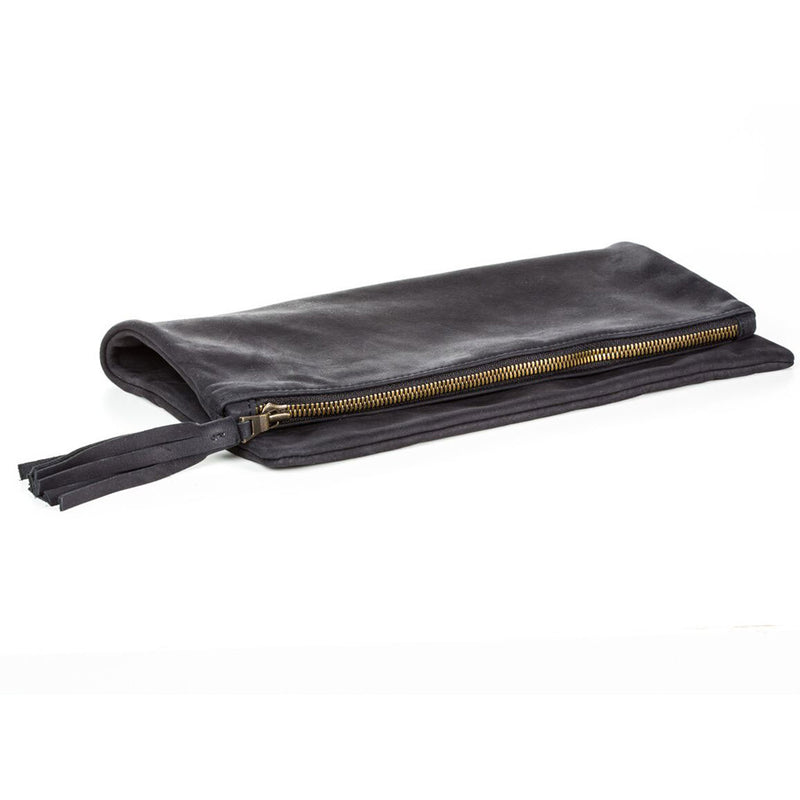 Fold Over Clutch - Black Leather