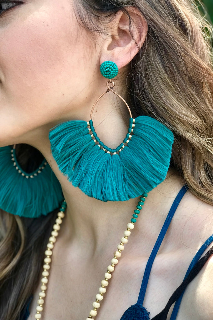 Blue Magnolia Clothing Company Olivia Tassel Hoop Earrings