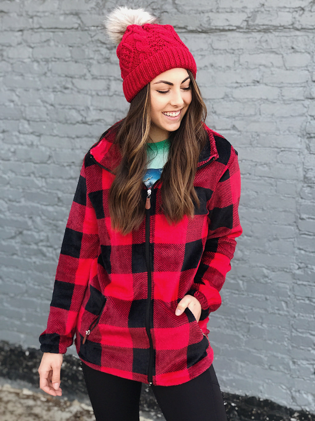 Cozy In Plaid Zip Up