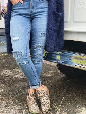 KanCan Leopard Patch Skinnies