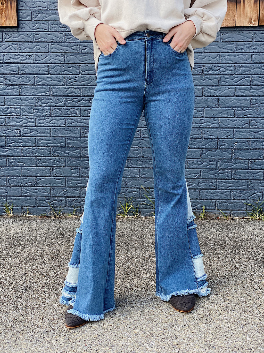 Patchwork Denim Flare Jeans