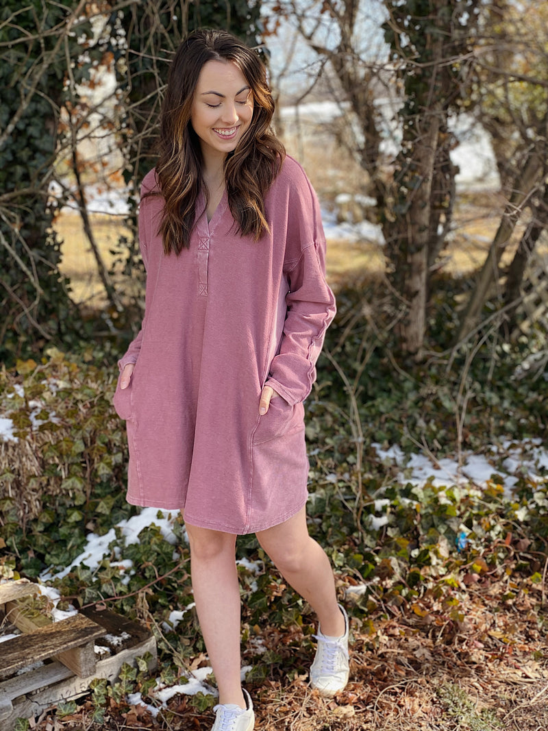 Take Me To The City Sweatshirt Dress - More Colors Available
