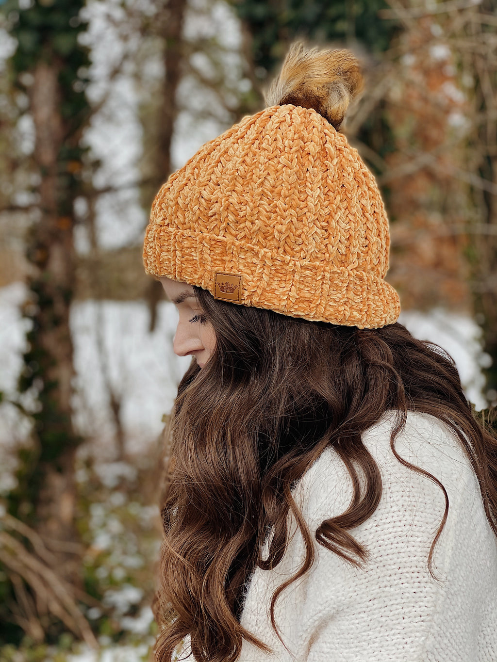 Chenille Pom Beanie - More Colors Available