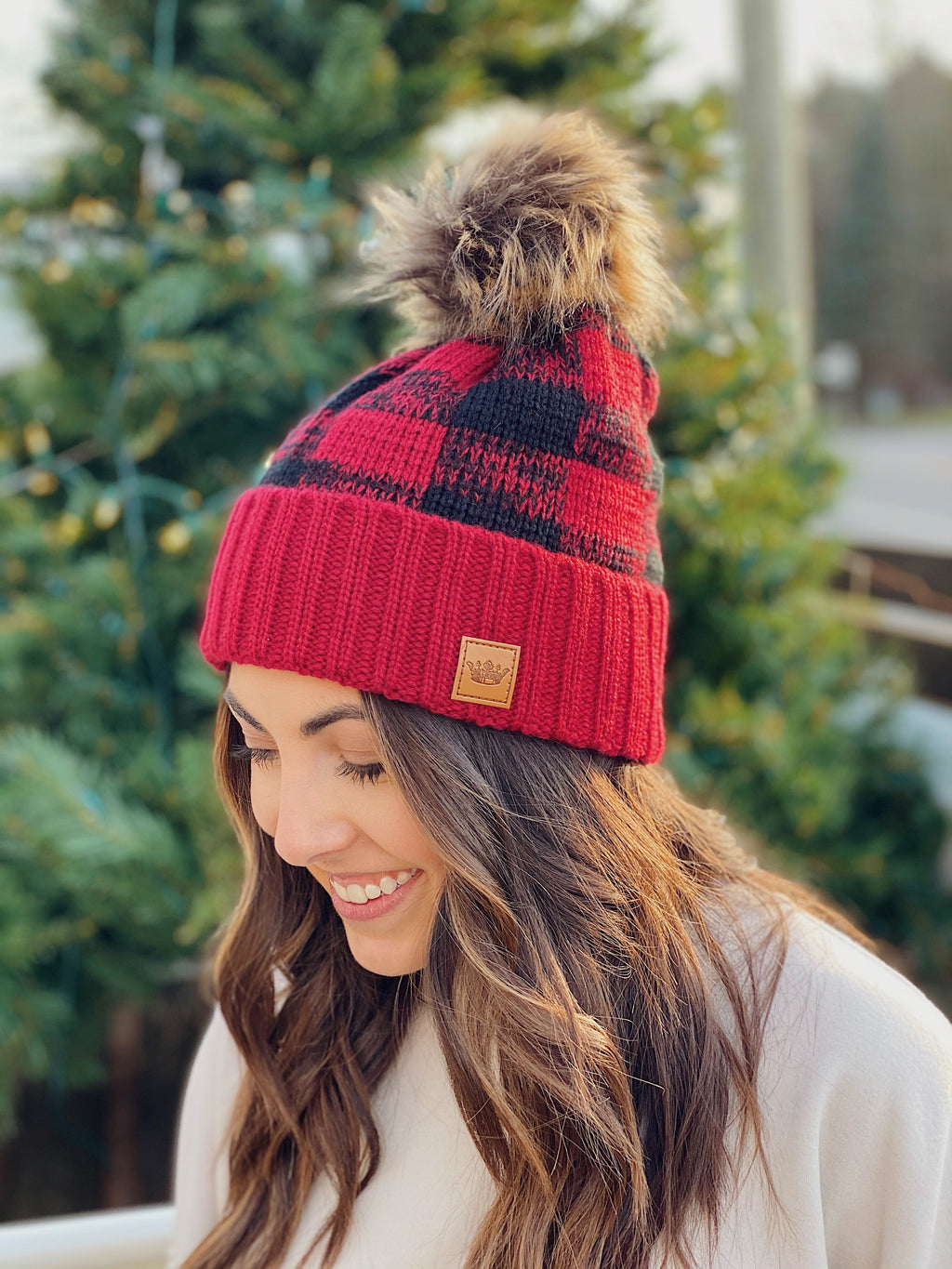 Red + Black Buffalo Plaid Beanie