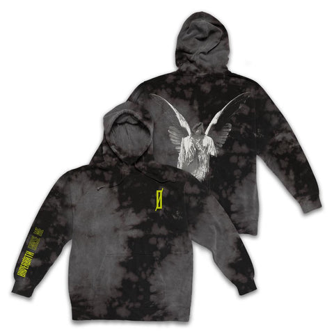 UNDEROATH (ANGEL) CUSTOM DYED/WASH BLACK HOODIE