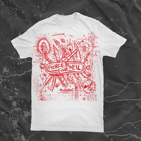 PIERCE THE VEIL (MISADVENTURES) WHITE T-SHIRT