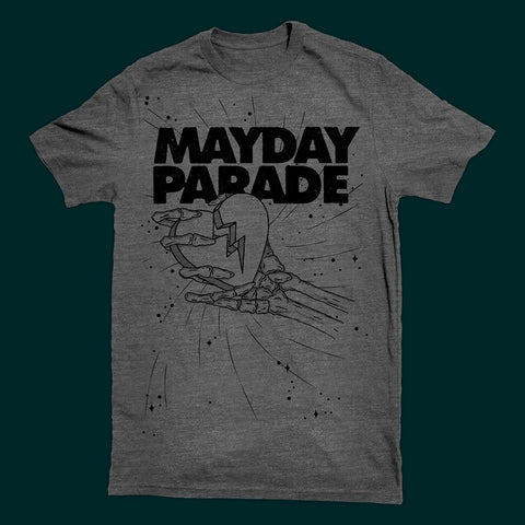 MAYDAY PARADE (CRUSHED HEART) GREY T-SHIRT