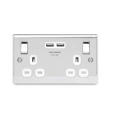 BG Nexus Masterplug Polished Chrome NPC22U3W Double Switch Socket with 3.1 A USB