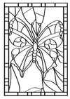 Stained Glass Butterflies Designs Colouring Book