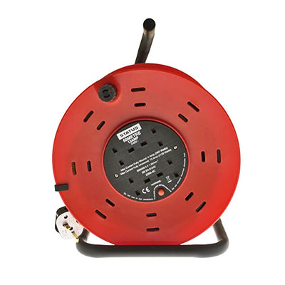 Status 4 Way 50m 13A Socket Outlet Metal Frame Cable Cassette Reel