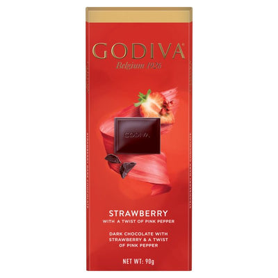 Godiva Pure Dark Chocolate, Strawberry & Pink Peppercorn Bar 90g