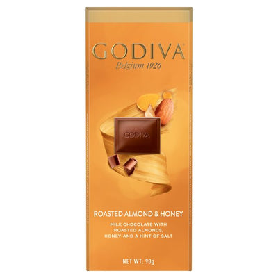 Godiva Pure Milk Chocolate, Honey & Salted Almonds Bar 90g