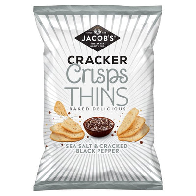 Jacob's Cracker Crisp Thins Baked Delicious Salt Pepper Chilli Onion