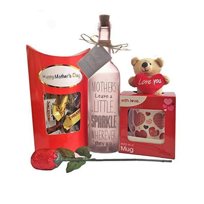 Mother's Day Gift - Teddy and Mug Choc Rose Starlight Bottle Toblerones