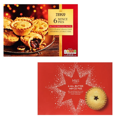 6 Mince Pies Pack - Traditional Christmas Food by Tesco & M&S