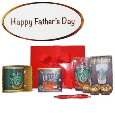 Father's Day Gift Set - Slytherin Mug, Glass, Ferrero Rocher & Lindt
