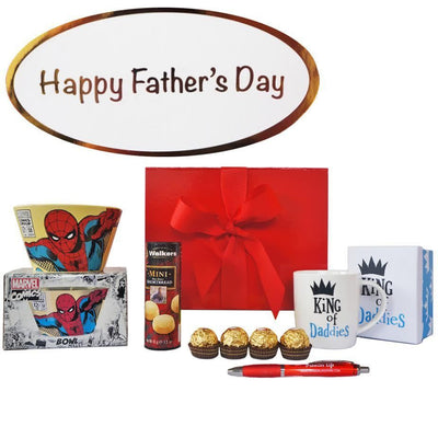 Father's Day Gift Set - Spiderman Bowl, Daddy Mug, Ferrero, Walkers