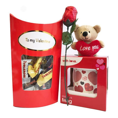 Valentines Set with Mug and Teddy Bear, Chocolate Rose, Toblerones