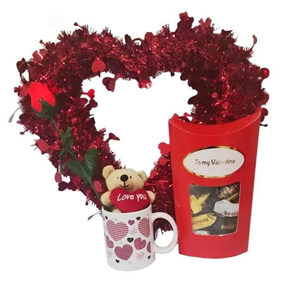 Valentines Gift Set Tinsel Heart, Light Rose, Mug and Toblerone Chocs