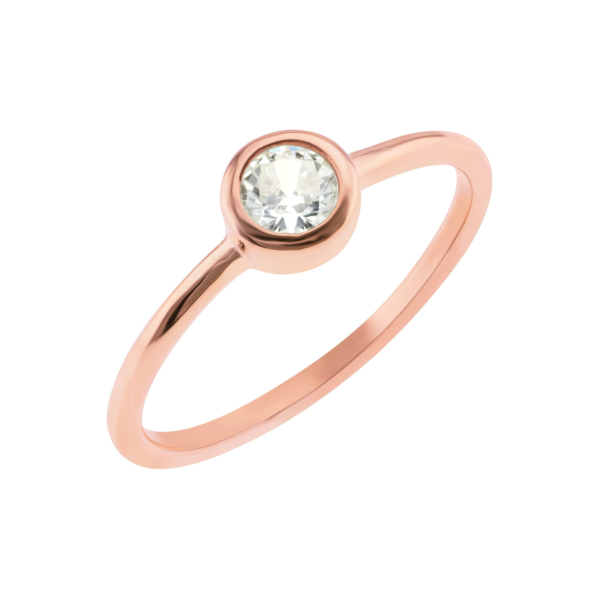 Minimal Solitaire Ring - Rose Gold - Voare Jewelry