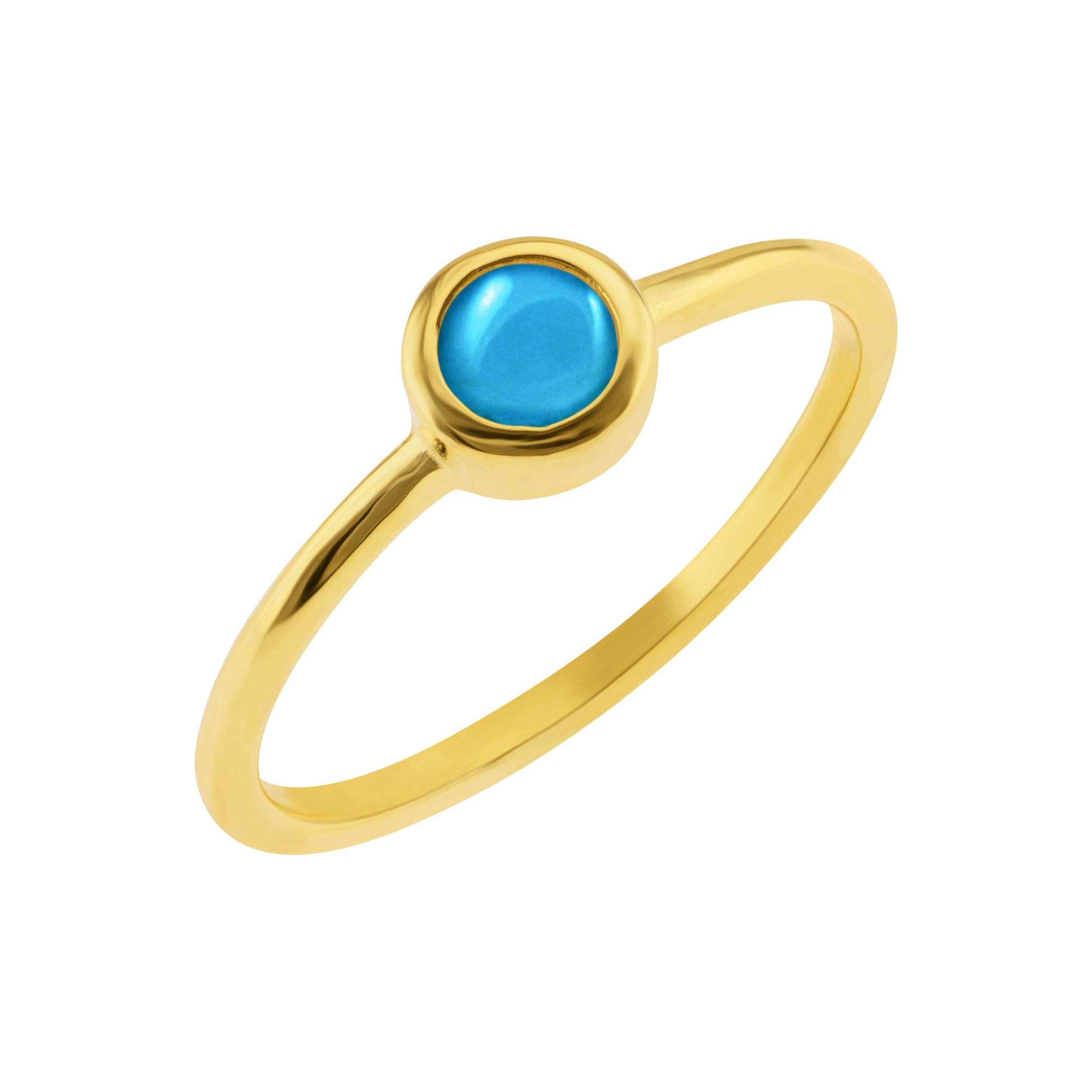 Minimal Turquoise Solitaire Ring - Yellow Gold - Voare Jewelry