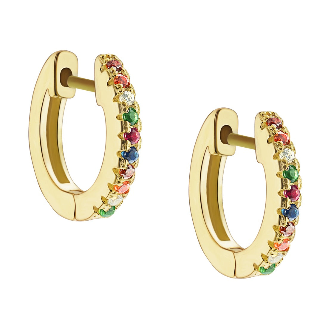Rainbow Pave Huggie Hoop Earrings - Yellow Gold - Voare Jewelry
