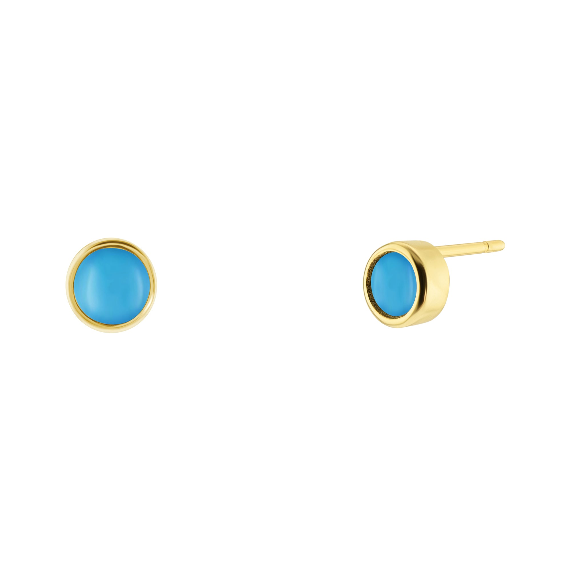 Mini Turquoise Stud Stone Earrings - Yellow Gold - Voare Jewelry