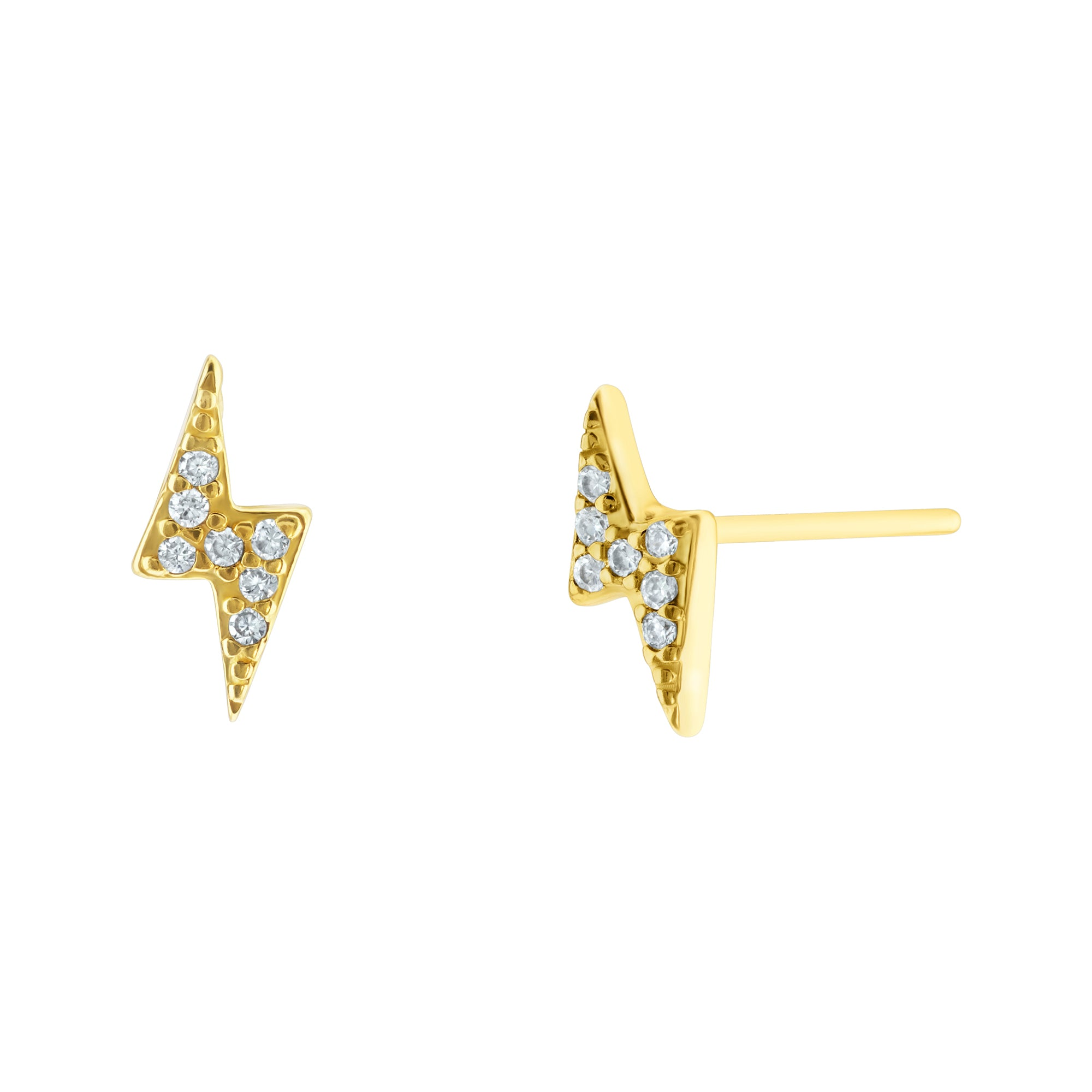 Lightning Bolt Stud Earrings Yellow Gold Voare