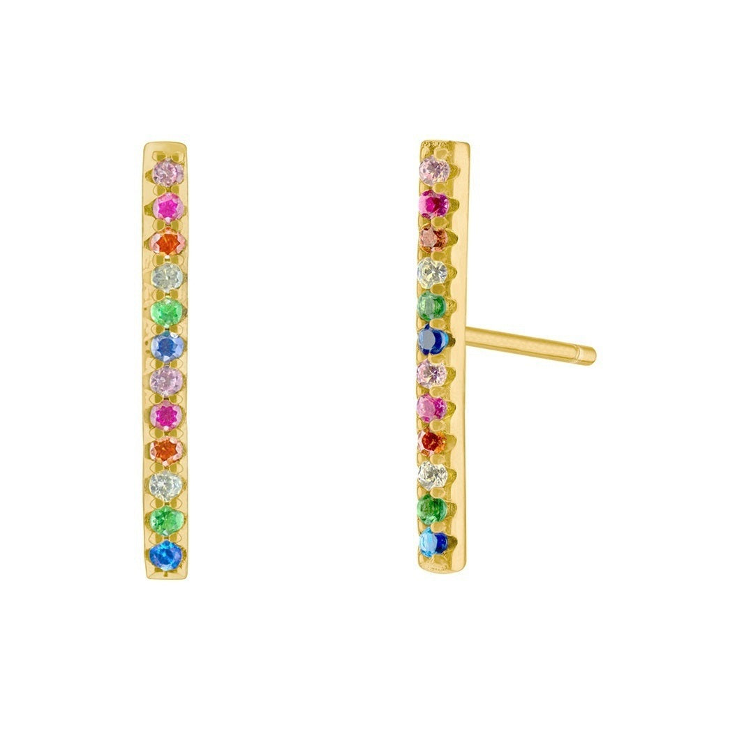 Long Rainbow Bar Pave Earrings - Yellow Gold - Voare Jewelry
