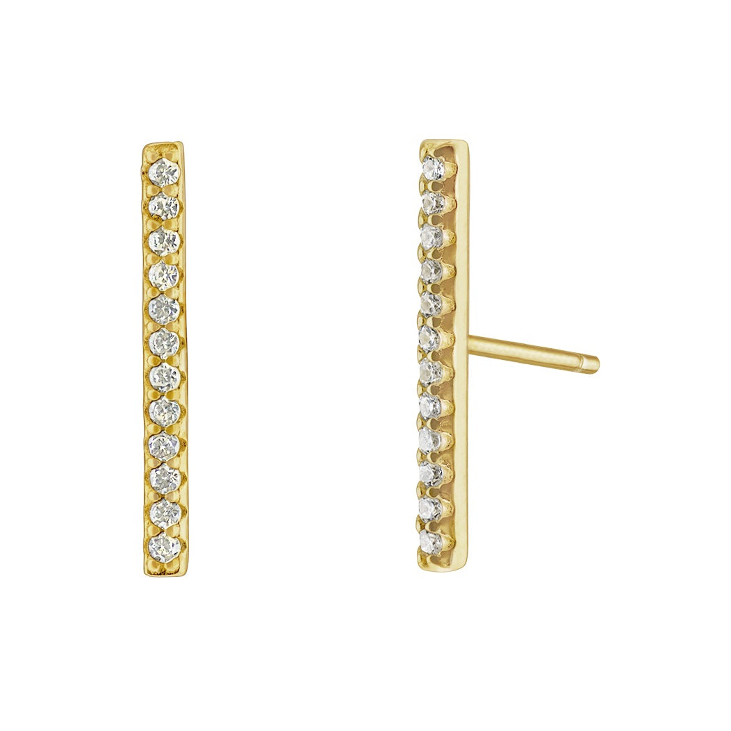 Long Bar Pave Earrings - Yellow Gold - Voare Jewelry