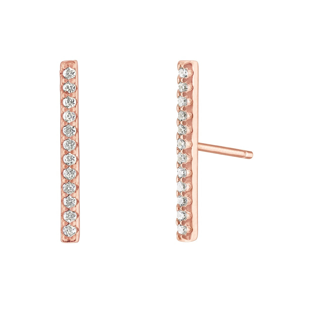 Long Bar Pave Earrings - Rose Gold - Voare Jewelry