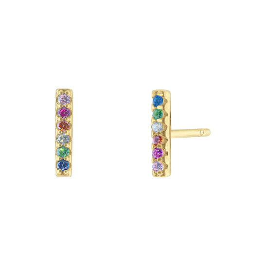 Rainbow Bar Pave Earrings - Yellow Gold - Voare Jewelry