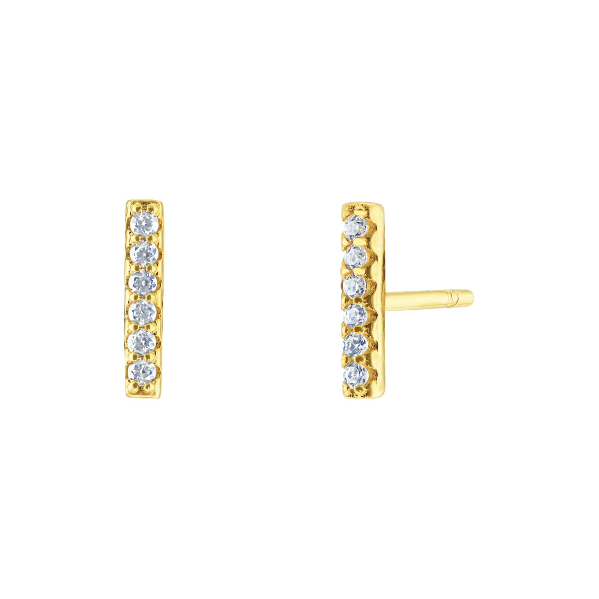 Bar Pave Earrings - Yellow Gold - Voare Jewelry
