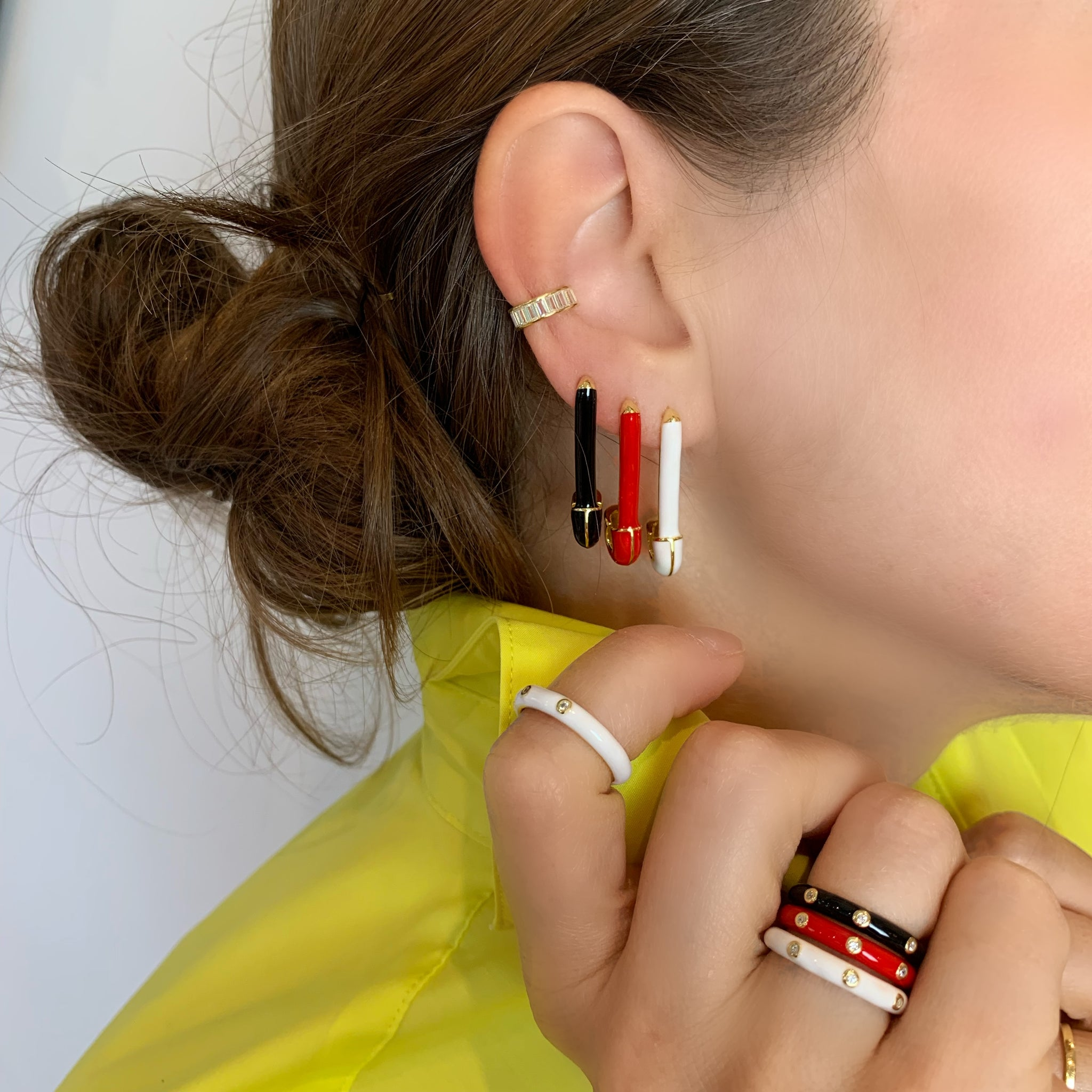 Red Enamel Band - Yellow Gold - Voare Jewelry