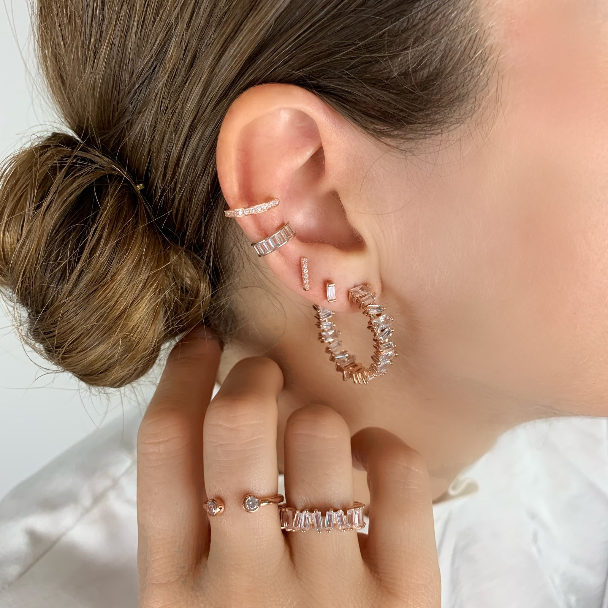 Bar Pave Earrings - Rose Gold - Voare Jewelry