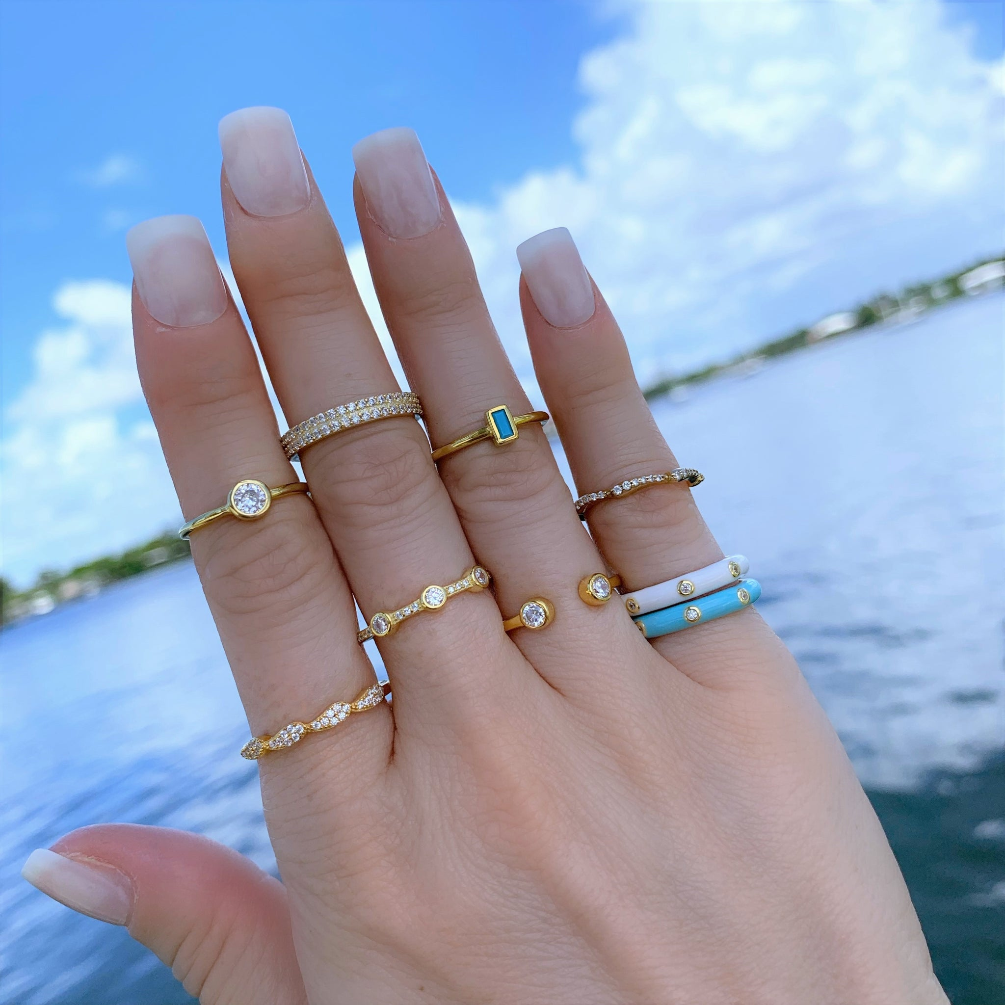 Minimal Turquoise Bar Ring - Yellow Gold - Voare Jewelry