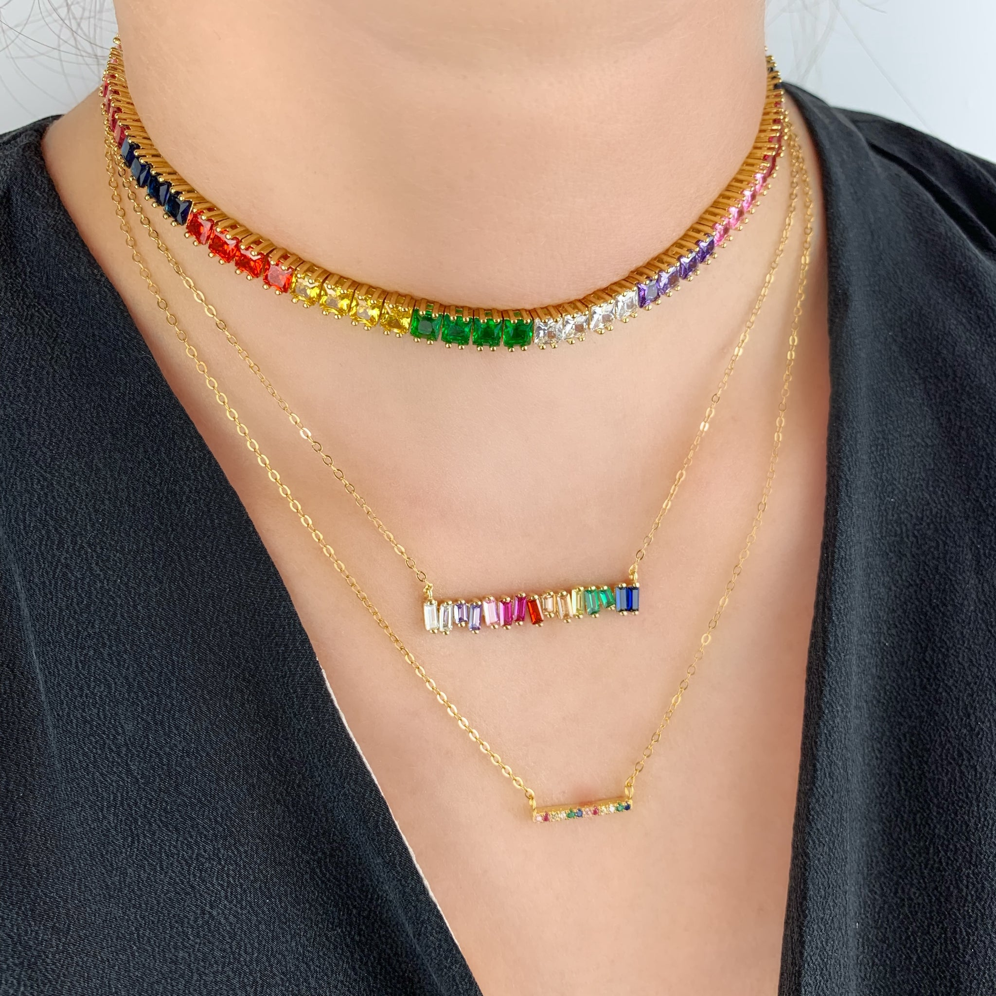 Rainbow Bar Necklace - Yellow Gold - Voare Jewelry