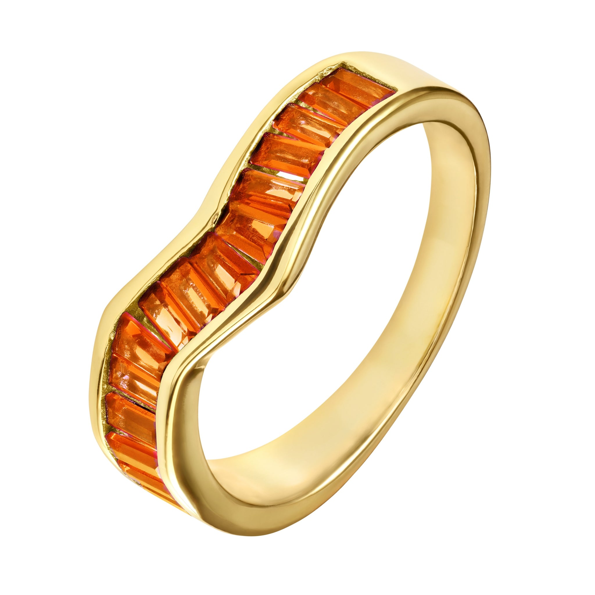 Orange Baguette Ring - Yellow Gold - Voare Jewelry