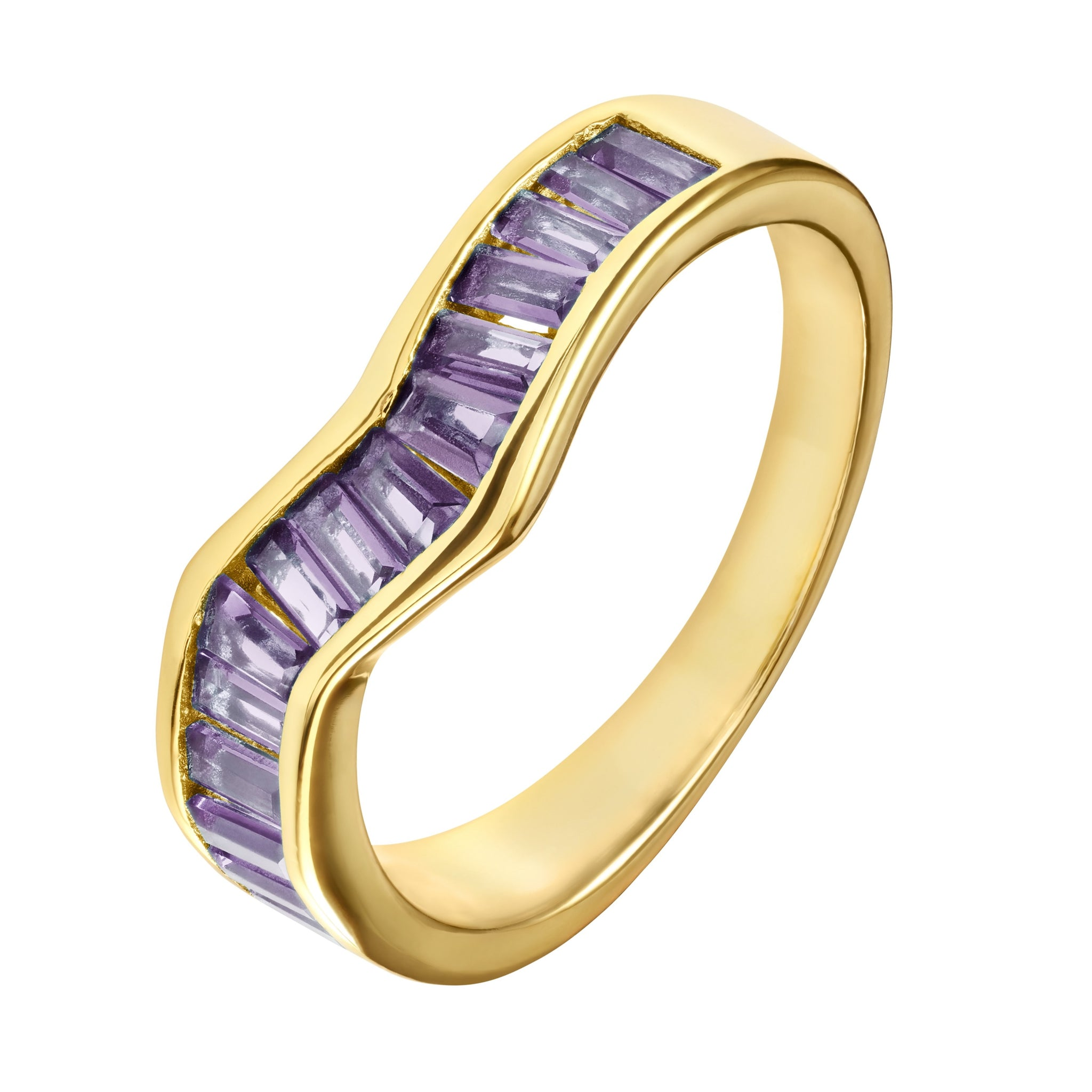 Purple Baguette Ring - Yellow Gold - Voare Jewelry