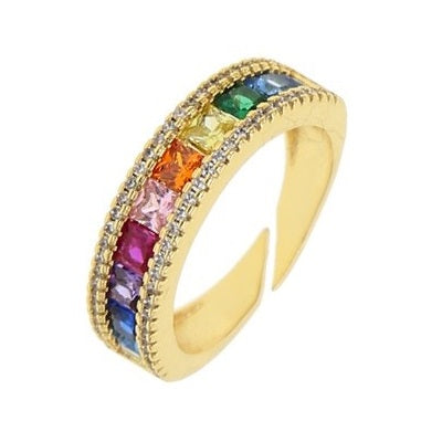 Princess Cut Rainbow Ring - Yellow Gold - Voare Jewelry