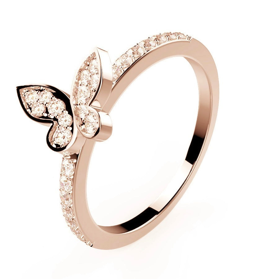 Mini Butterfly Wedding Band - Rose Gold - Voare Jewelry