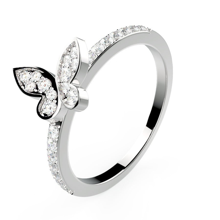 Mini Butterfly Wedding Band - Sterling Silver - Voare Jewelry