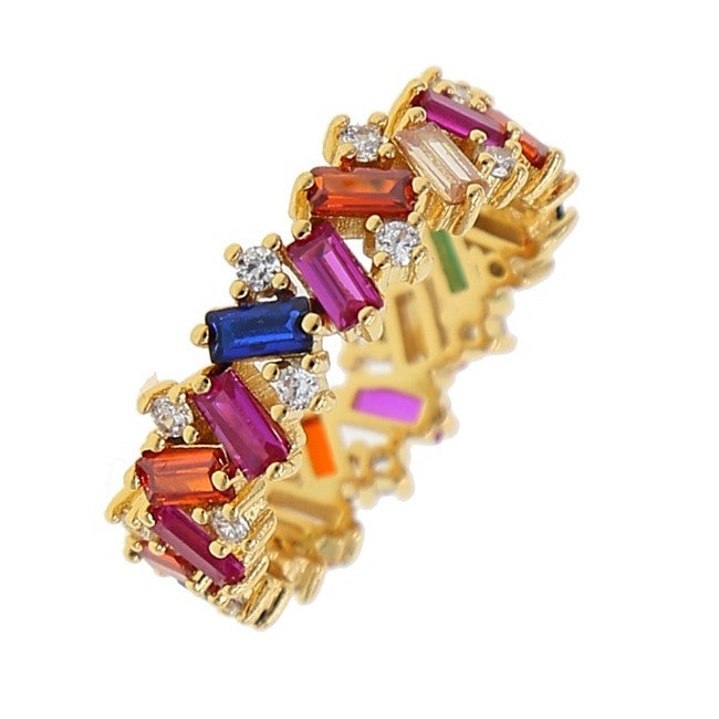 Rainbow Baguette Stone Ring - Yellow Gold - Voare Jewelry