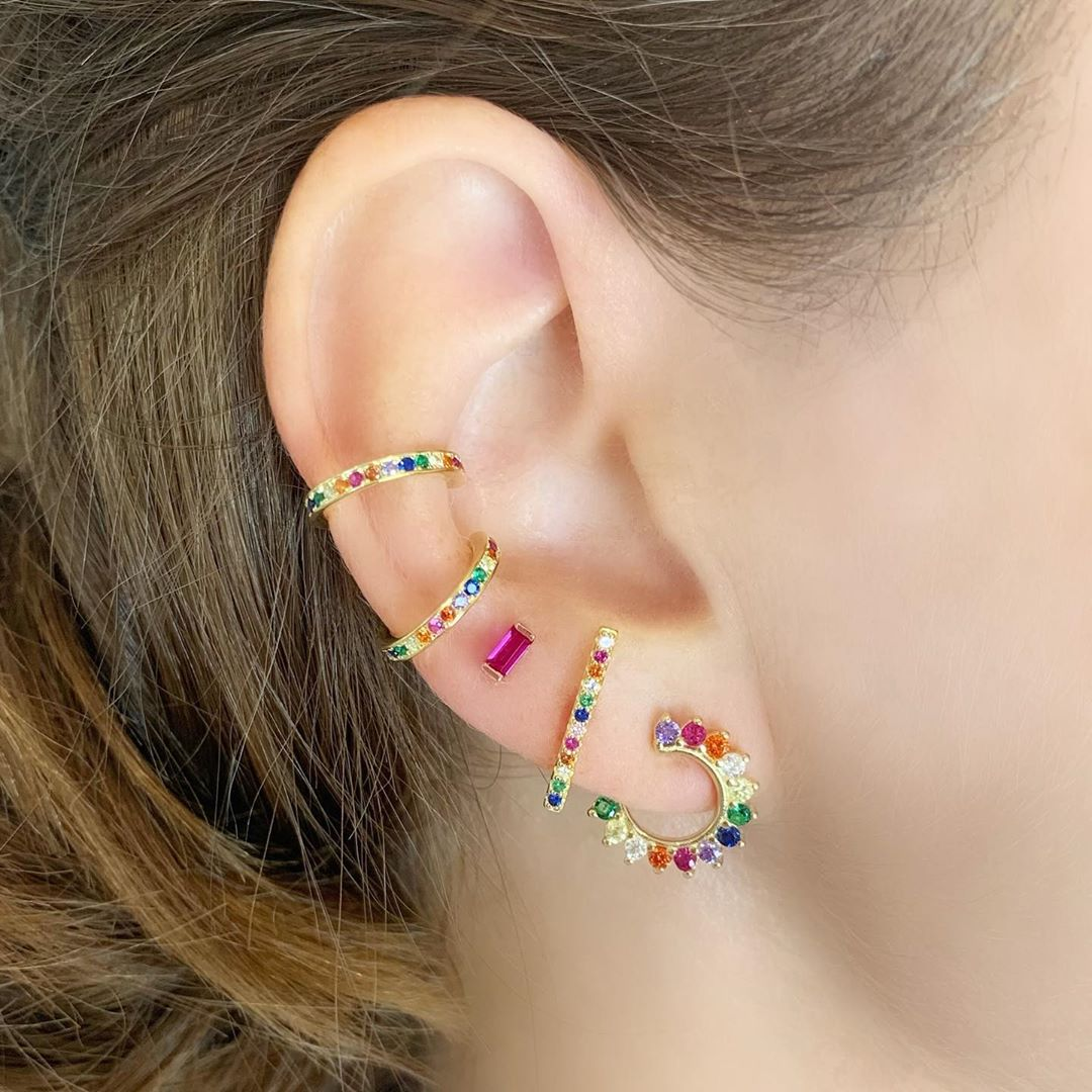 Rainbow Pave Ear Cuff - Yellow Gold - Voare Jewelry
