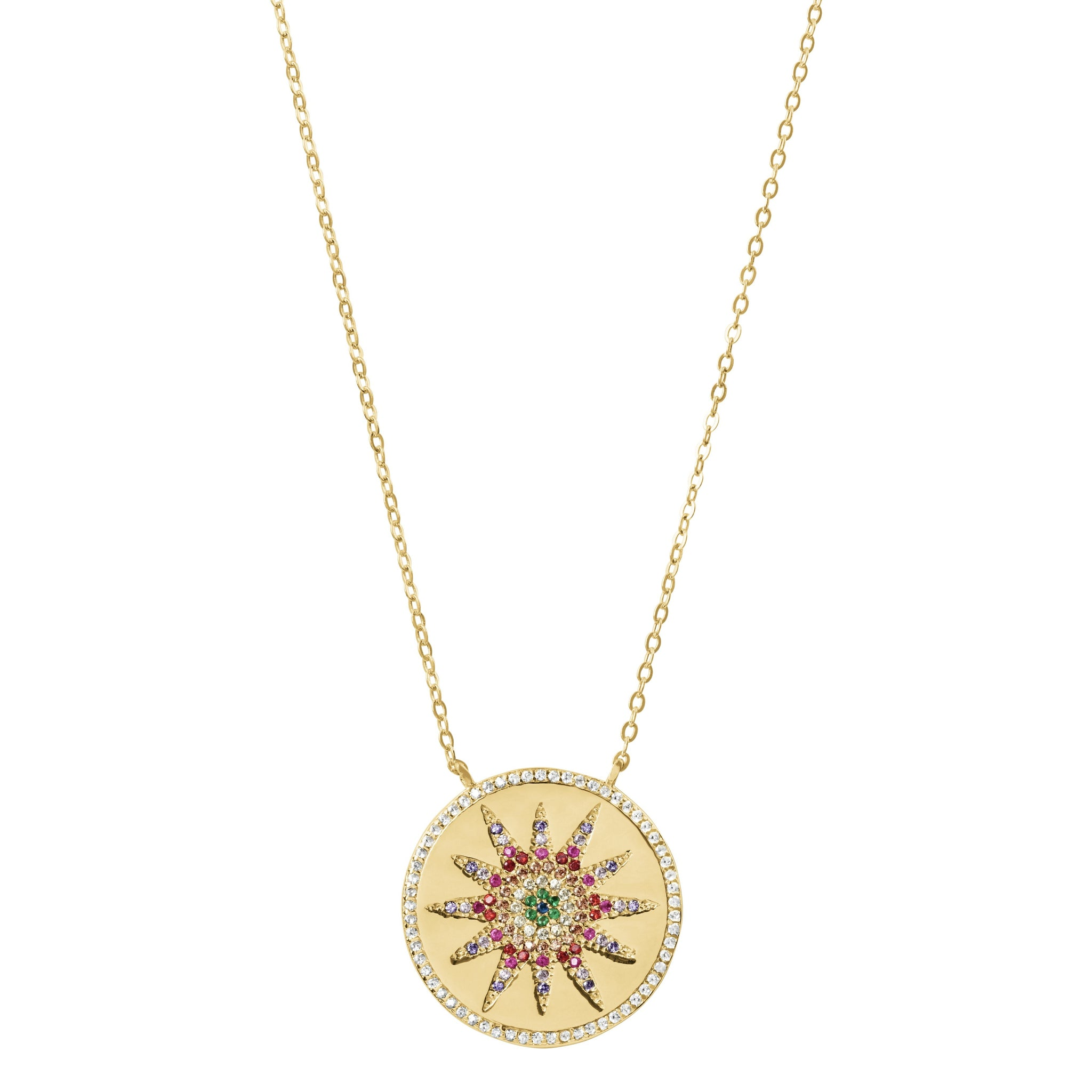 Rainbow Star Coin Pendant Necklace - Yellow Gold - Voare Jewelry