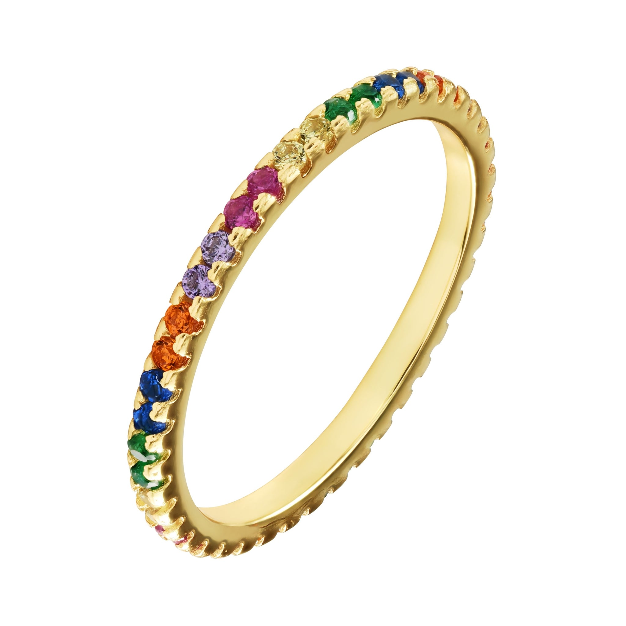 Rainbow Wedding Band - Yellow Gold - Voare Jewelry