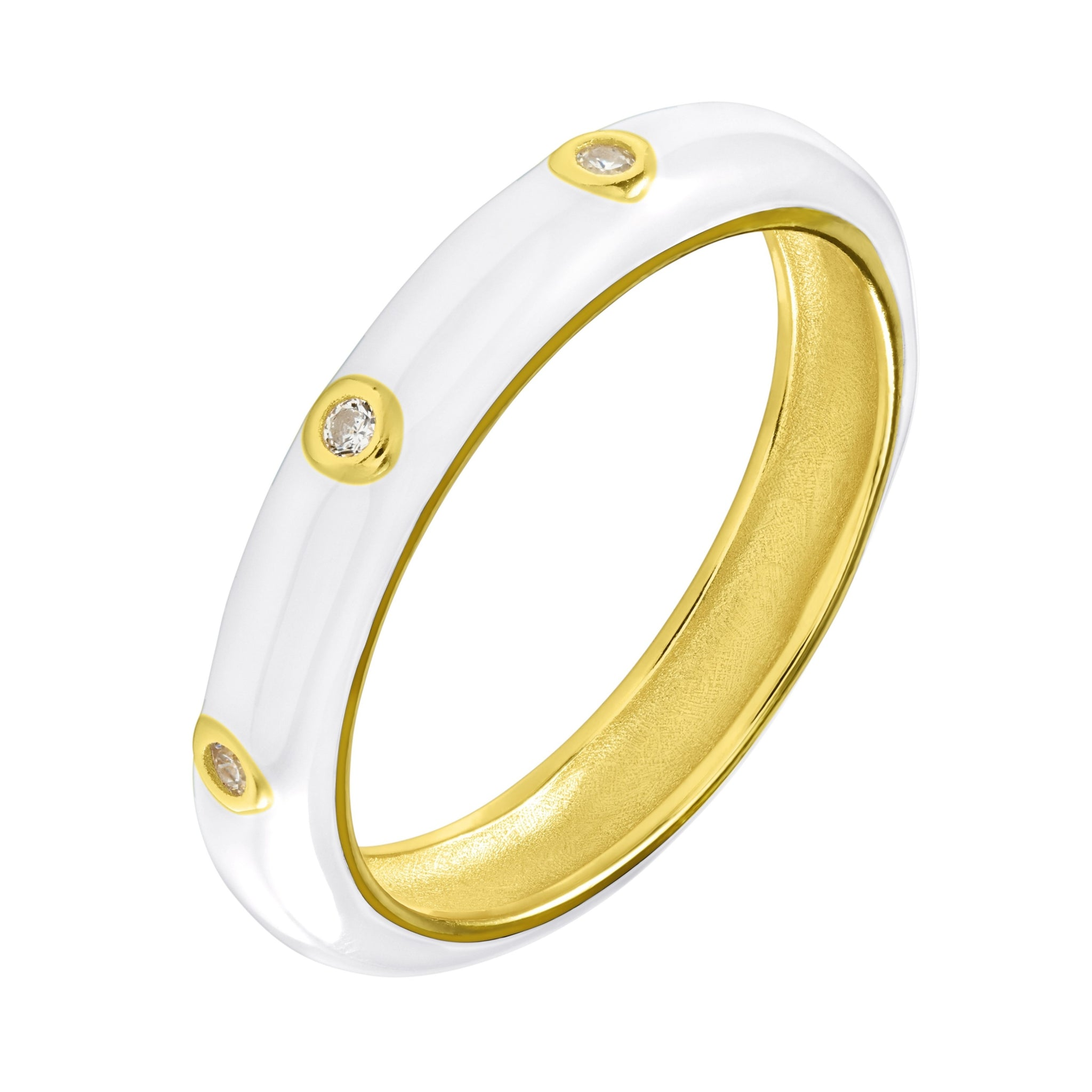White Enamel Band - Yellow Gold - Voare Jewelry